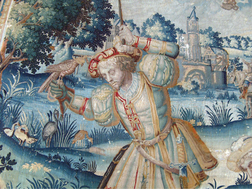 """Conservation de la tapisserie """"Le retour des faucons""""."""