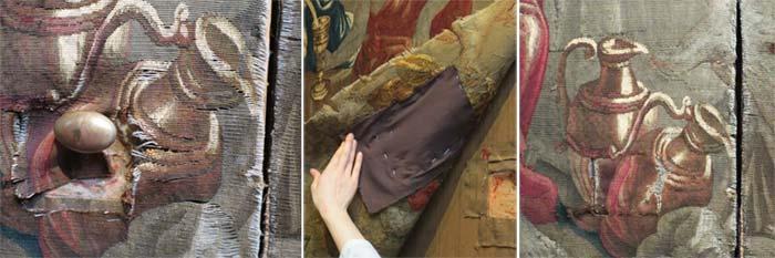 Une découpe en «U» a été pratiquée sur la tapisserie pour la poignée de la porte. Détails avant, pendant et après consolidation de la découpe.