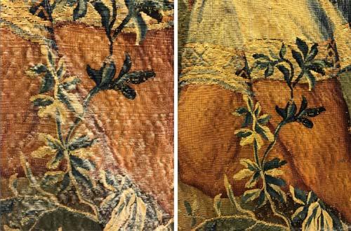 """Détails avant et après dépoussiérage de la tapisserie """"Les pécheurs indiens"""" qui révèle tous les détails de l'œuvre."""