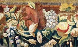 """Détail Exemple de restauration conservation de tapisserie : détail de la tapisserie """"Moïse faisant jaillir l'eau du rocher d'Horeb""""."""