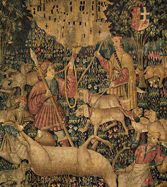 """Exemple de restauration conservation de tapisserie : """"La mise à mort du cerf"""""""