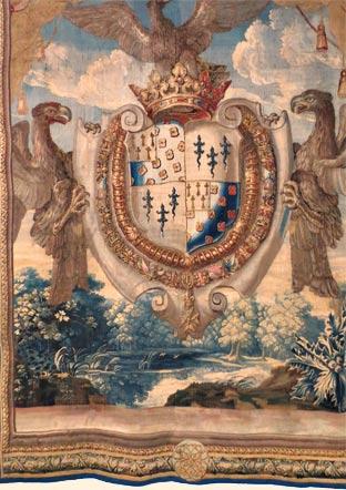 Restauration d'une tapisserie de Beauvais aux armes de Louis Phélypeaux