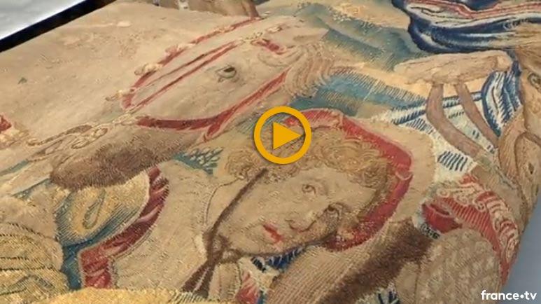Restauration d'une tapisserie monumentale du 16e siècle, appartenant à la ville de Beauvais. Reportage de France 3 Paris IDF dans les ateliers de Bobin Tradition.