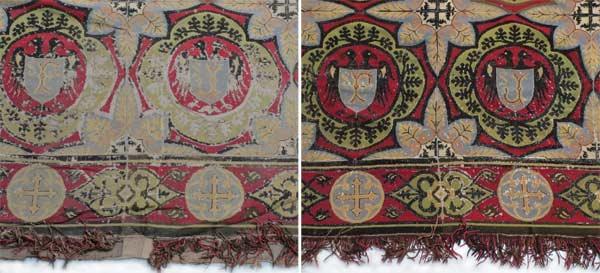 Détail du tapis de chœur de l'église Saint Julien, avant et après intervention : comblement des usures de la broderie en laine noire, consolidation et réfection des lacunes dans la passementerie.