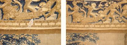 Nettoyage de tapisserie : élimination de fientes d'oiseaux sur une des tentures de l'Histoire de Moïse (milieu du XVIe siècle).