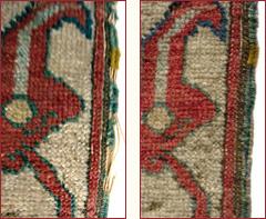Détail de restauration conservation de tapis : consolidation des lisières