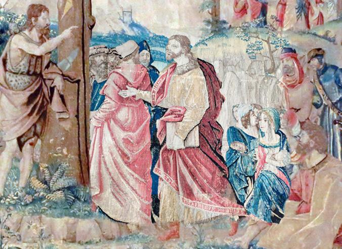 Détail de la tapisserie « La prédication de saint Jean-Baptiste », château de Langeais.