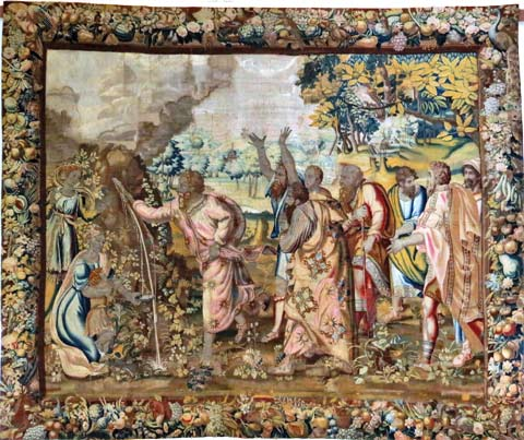 """Exemple de restauration conservation de tapisserie : """"Moïse faisant jaillir l'eau du rocher d'Horeb""""."""