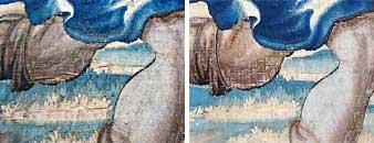 Détail de tapisserie « L'histoire d'Aminte et Sylvie – La fuite de Satyre », avant et après restauration.