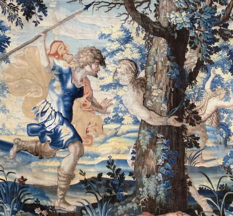 """Restauration de tapisserie """"L'histoire d'Aminte et Sylvie - La fuite de Satyre"""", château de Vaux-le-Vicomte."""