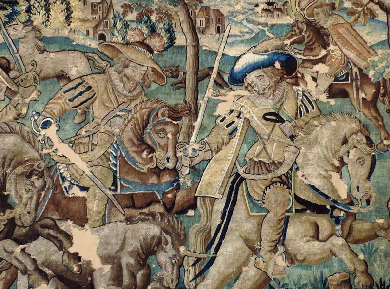 Restauration conservation d'une tapisserie d'Aubusson fortement endommagée