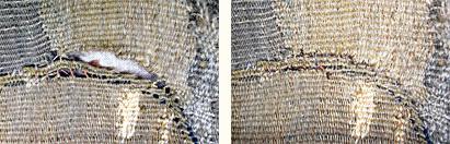 Détail d'une tapisserie avant et après couture relais.