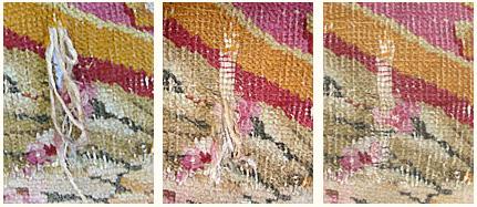 Restauration conservation du tapis de l'empereur : consolidation au point de boulogne