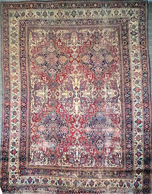 Tapis persan Mashad (tapis d'orient au point noué) du château de Champs-sur-Marne