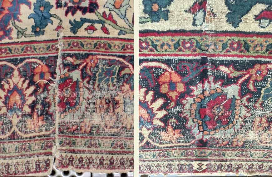 Détails de la restauration d'un tapis Mashad du château de Champs-sur-Marne